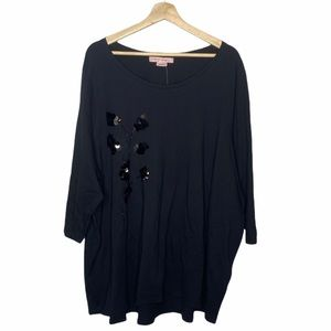 In Every Story Black Sequin 3/4 Sleeve Top